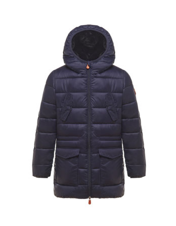 parka j4040b giga blu save the duck bambino con interno in ecopelliccia
