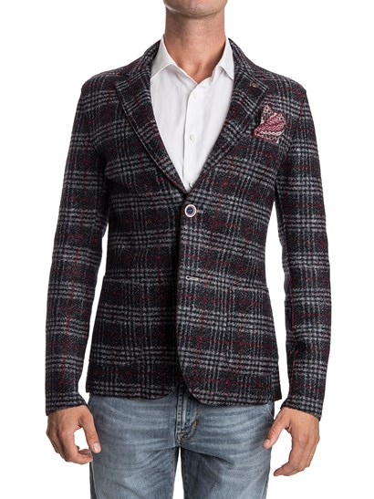 bob giacca chalk jersey lana quadri boreaux monopetto due bottoni