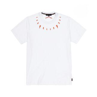 IUTER t shirt claws white maglietta maniche corte con inserti ricamo al collo