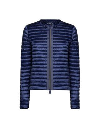 save the duck d3590w iris6 blue black giacca senza collo stile bon ton zip centrale con grois grain