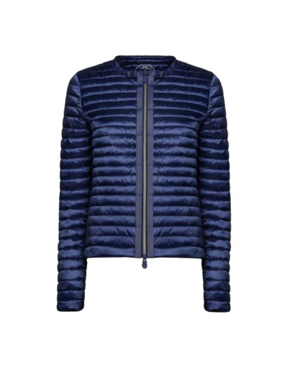 save the duck d3590w iris6 blue black giacca senza collo stile bon ton zip centrale con grois grain