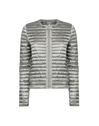 save the duck d3590w iris6 silver giacca senza collo stile bon ton zip centrale con grois grain