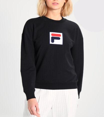 fila felpa girocollo erika black collezione urban line con inserto logo frontale