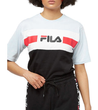 fila t shirt shannon collezione urban line cangel falls bright white black con stampa frontale