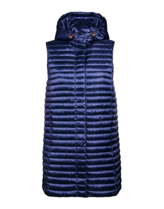 SAVE THE DUCK d8404w iris6 blue back gilet lungo con cappuccio