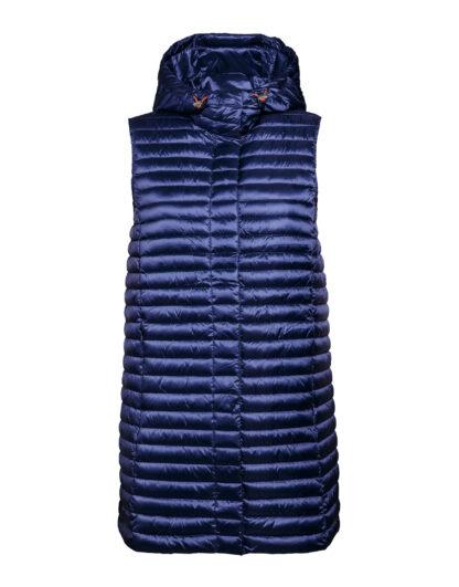 SAVE THE DUCK d8404w iris6 blue back gilet lungo con cappuccio