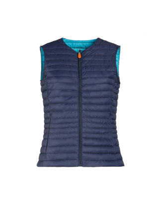 SAVE THE DUCK donna d8544w giga6 navy blue gilet con interno a contrasto