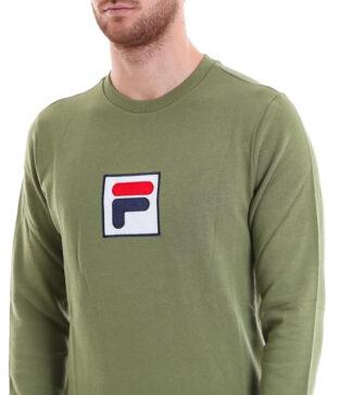 FILA felpa girocollo modello rian verde militare con patch logo applicato