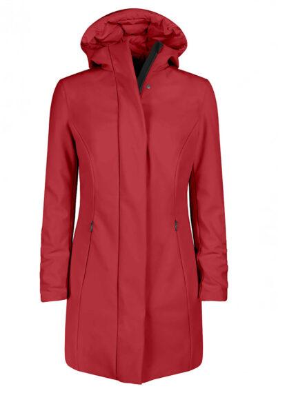rrd winter long lady rosso cappottino con cappuccio