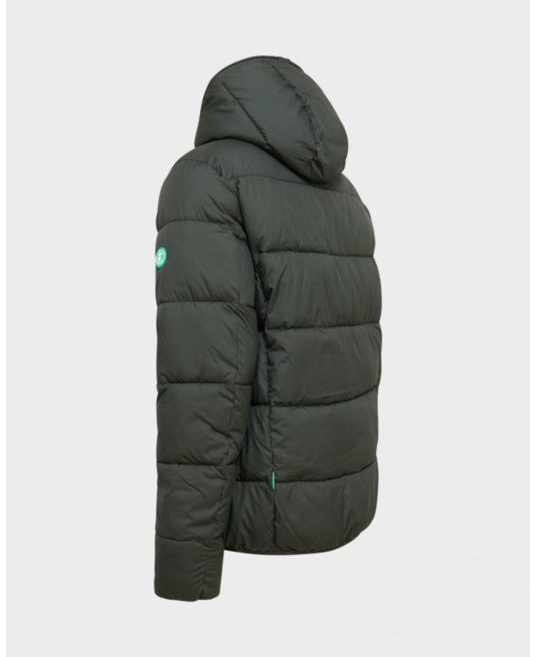 save the duck d3718m warm7 green black giubbino corto con cappuccio reversibile verde scuro