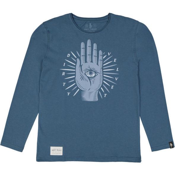 Dirty Velvet maglietta manica lunga the beholder colore blu scuro