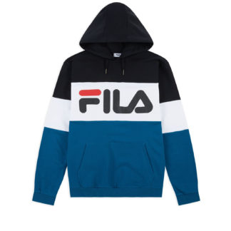 fila felpa uomo night cappuccio blocked moroccan blue black white
