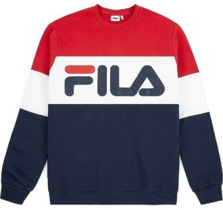 fila felpa uomo girocollo straight red white blue