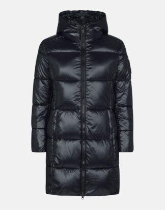 save the duck d4565W luck9 black cappotto lungo maxi trapuntato con cappuccio fisso