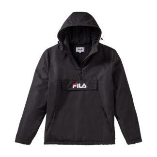 fila giacca anorak michurou colore nero con mezza zip e cappuccio fisso