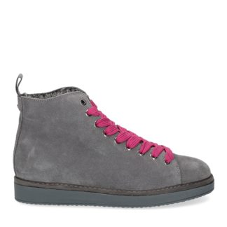 panchic donna polacchino p01 in suede grigio con interno in eco fur