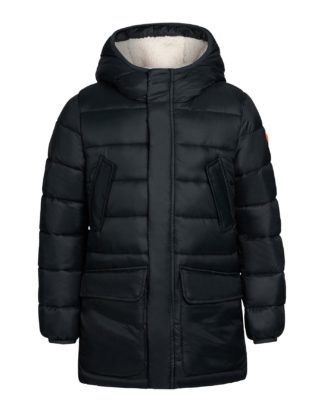 save the duck j4501B giga9 parka bambino shadow black con cappuccio e interno in pile