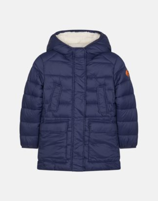 save the duck j4454G giga9 parka bambina blu con cappuccio e interno in pile