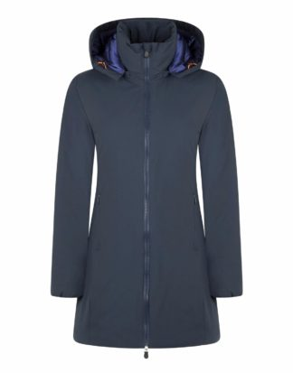 save the duck donna d4006W matt9 blu scuro con cappuccio staccabile