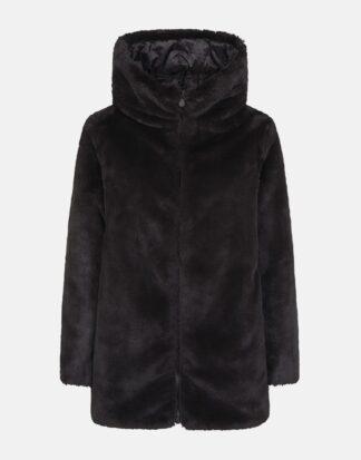 save the duck cappotto nero reversibile in ecopelliccia con cappuccio fisso d4007W fury9
