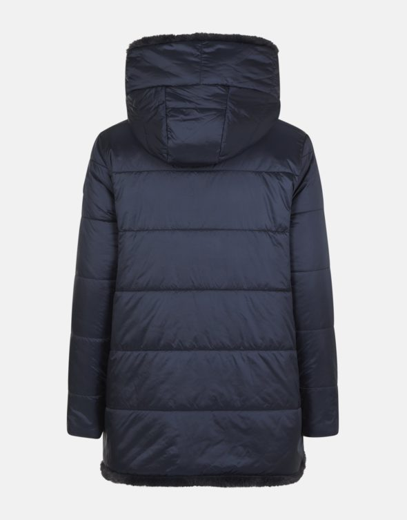 save the duck cappotto blu scuro reversibile in ecopelliccia con cappuccio fisso d4007W fury9
