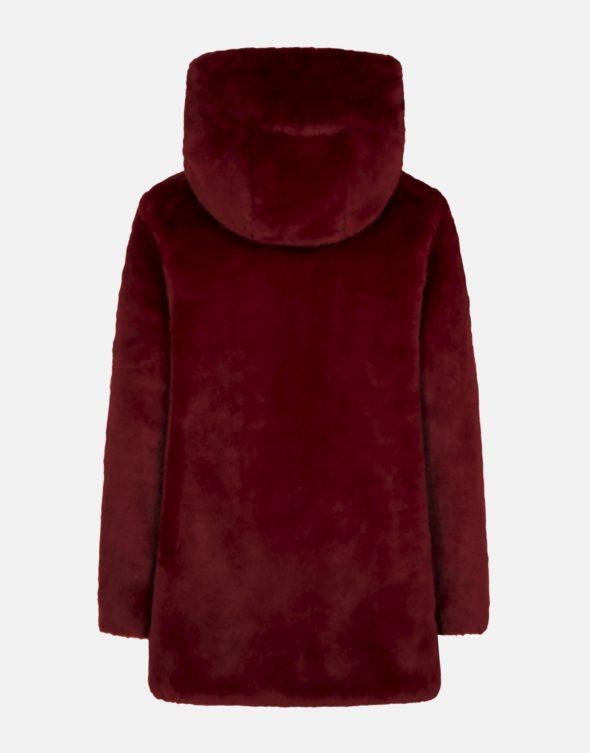 save the duck cappotto rosso reversibile in ecopelliccia con cappuccio fisso d4007W fury9