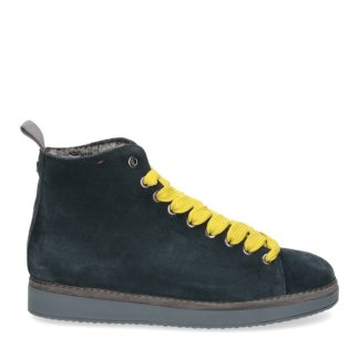 panchic donna polacchino p01 in suede blu con interno in eco fur