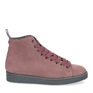 panchic donna polacchino p01 in suede rosa con interno in eco fur