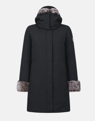 save the duck donna cappotto parka modello P4280W shadow black con ecopelliccia e cappuccio staccabile