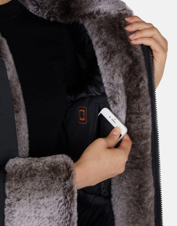 save the duck donna cappotto parka modello P4280W shadow black con ecopelliccia e cappuccio staccabile