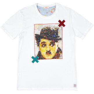 bob maglietta icon graf0025 mezza manica colore bianco charlie chaplin