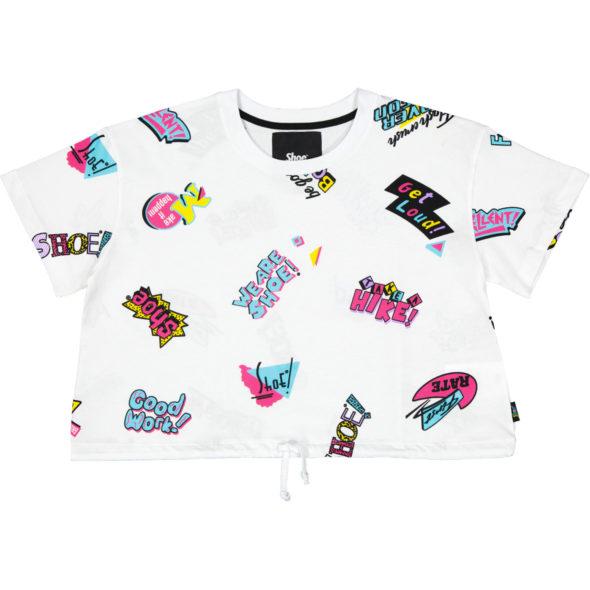 shoe maglietta corta girocollo mezza manica theresa03 colore bianco stampa 90s