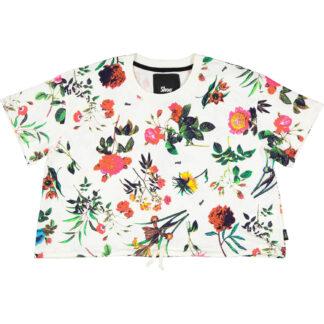 shoe maglietta corta girocollo mezza manica theresa03 colore bianco stampa flowers