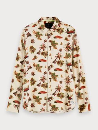 scotch & soda camicia uomo manica lunga stampa tropicale 155173 combo a 0217