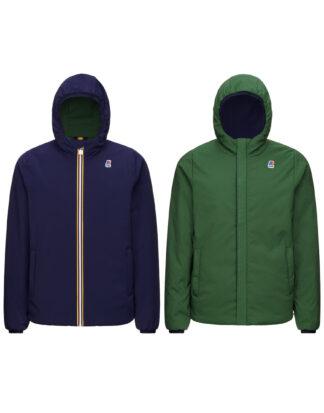 k way giubbino reversibile con cappuccio modello jacques warm double blue maritime green dk forest k111jkw a1f