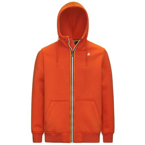 k way felpa uomo modello berenger spacer arancione k2111fw h48 orange rust