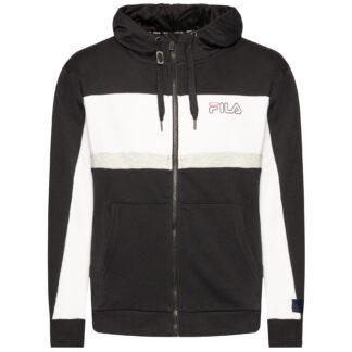 fila felpa uomo con cappuccio modello lauro hoody jacket 683180 nero k05 black bright white light grey melange bros