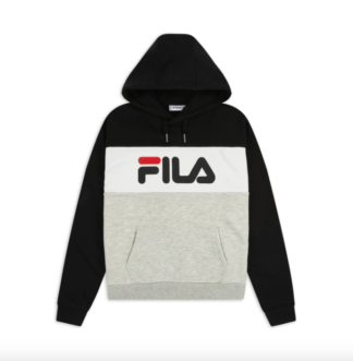 fila felpa donna modello lori con cappuccio nera 687042 l85 black light grey melange bright white