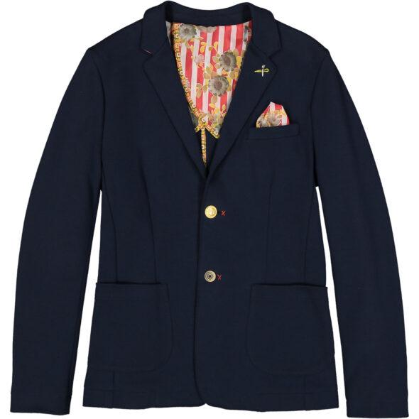 giacca uomo due bottoni spacchi laterali bob cotone jersey blu brand 50