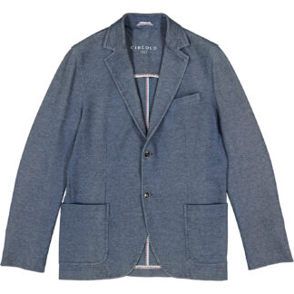 circolo 1901 giacca uomo due bottoni tasche applicate a toppa cn1412 piquet denin 14p blu polvere