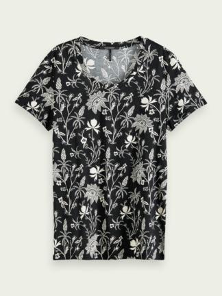 scotch soda donna maglietta stampa floreale tropicale mezza manica 16170 0218
