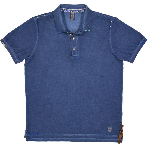 polo bob mezza manica piquet ricky r0208 blu jeans tinto freddo