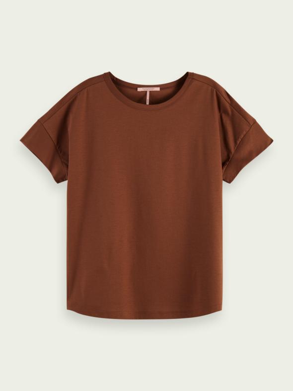 scotch&soda donna t-shirt marrone mezza manica 161721 0007