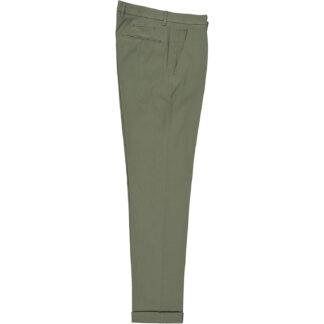 briglia 1949 pantalone slim uomo con pences bg07 320514 562 cotone elasticizzato millerighe verde medio oliva