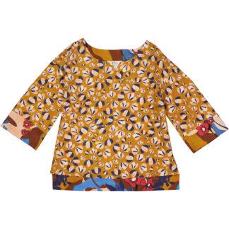 etici blusa in cotone leggero cubotto manica 3/4 stampa petali e1 3816 miele