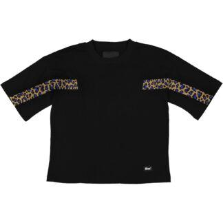 shoe maglietta in cotone tabitha 25 nera black con inserto tape maculato