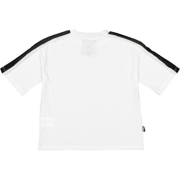 shoe maglietta in cotone tera 36 bianca white con inserto tape